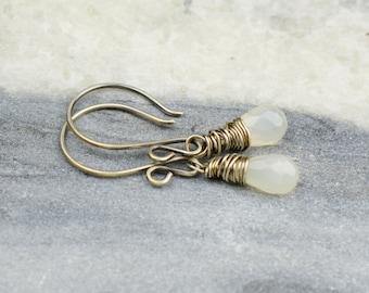 Moonstone Sterling Silver Earrings | Wire Wrapped Silver Earrings | White Moonstone Drop Earrings ES413