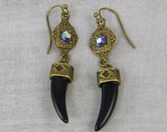 Tribal Black Horn Earrings, Rhinestone Antique Gold Fang Earrings, Claw Dangle Earrings Gold Black Earrings,Ethnic Dangle Earrings  EC2-6