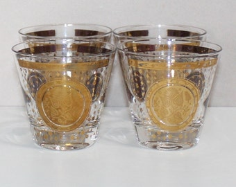 Vintage, Set of 4, Georges Briard Double Old Fashioned Glasses, Gold Floral Medallion