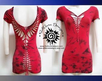 RAVING RED - Juniors / Womens Cut Shirt.  Weaved, Tie Dyed Red Top, Yoga Wear, Beach Wear, Club Wear