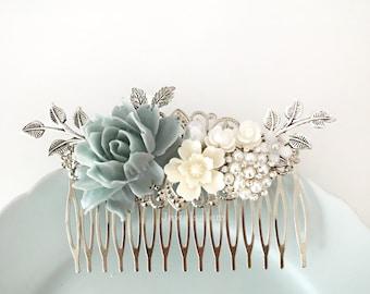 Dusky Blue Wedding Comb, Sterling Gray Mercury Blue Silver Bridal Hair Comb, Rhinestones Crystal Hair Slide, Romantic Pearl Hair Clip