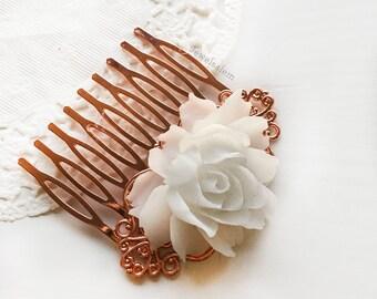 Rose Gold Hair Comb White Wedding Hair Adornment Bridal Hair Slide Elegant Bridesmaids Hair Clip Gift Romantic Modern Rustic
