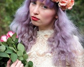 Sale Peach pastel flower crown, flower garland, Lana Del Ray, Wedding headpiece, nature inspired, vintage inspired, rustic rose, love.