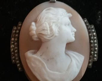 Vintage Silver Art Deco Marcasite Carved Shell Cameo Pin