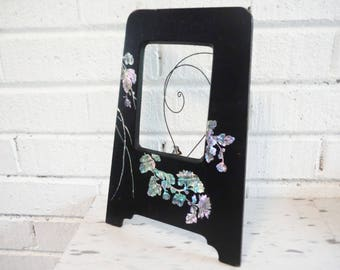 Shabby black lacquer and abalone picture frame, vintage picture frame, abalone picture frame ,black picture frame, Japanese decor