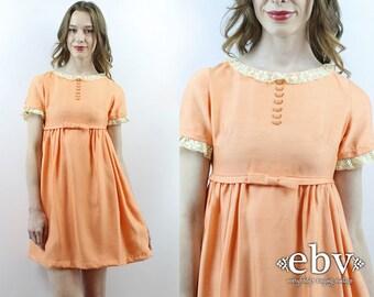 Dolly Dress Lolita Dress Babydoll Dress 70s Dress 1970s Dress Peach Dress Metal Zipper Dress Empire Waist Dress Bow Dress Mini Dress XS S