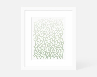 Modern Abstract Wall Art Green / Large Minimalist Painting / Vertical Art Print / Framed and Matted / 5x7 8x10 11x14 16x20 18x24