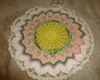 Beautiful Large Vintage Crochet Doily Pink Green Yellow