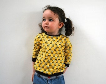 SAVE 10% - Girls yellow jersey sweater floral retro top pretty flower jumper vintage style cute cotton funky kids spring baby toddler babies