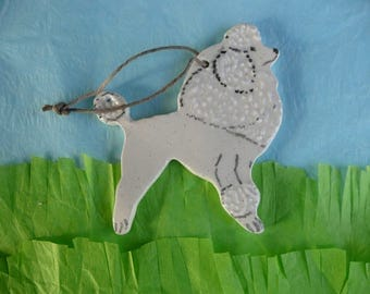 White Poodle Ornament - handmade ceramic