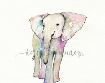 Baby Elephant / Watercolor / Printable Art / Printable Watercolor / Instant Download