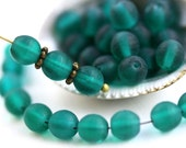 6mm Round Druk beads, Matte Dark Teal glass beads, czech spacers, pressed glass - 40Pc - 1252