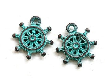 Sailor wheel charm, Verdigris patina on copper, Rudder, Greek metal casting beads, ship sail wheel - 20mm - 2Pc - F067