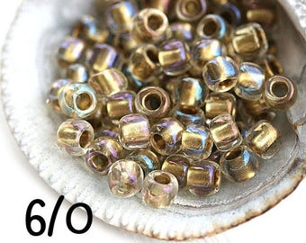 Golden Rainbow Seed beads, TOHO size 6/0, Inside-Color Crystal Gold Lined, N 262, japanese glass - 10gr - S588