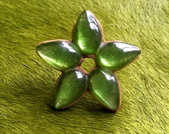 50s Brooch Resine Brooch Flower Brooch Green Brooch Large Brooch French Couture Jewelry