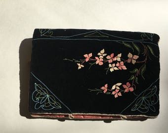 Antique Black Velvet Cover-FloraI-Butterflies-Japanese Style-Silk-Quilted-Painted Micro Glass Pearl-Vivid Colors-Victorian French-Rare