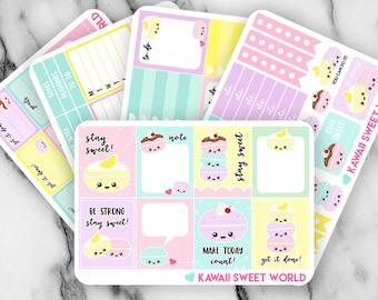 Kawaii Macaron Sticker Set | Erin Condren Planner Stickers