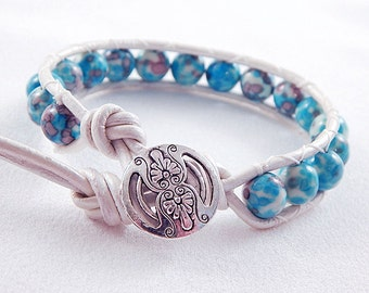 Aqua and Purple Rainforest Stone Jade Leather Wrap Bracelet - White Leather - Silver Floral Button - Gifts under 20