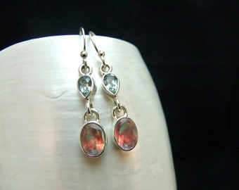 Handmade Mercury Mist Topaz & Blue Topaz Sterling Silver Drop Earrings