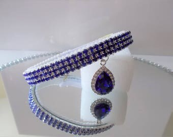 Sapphire blue crystal Dog, puppy or cat kitten Collar with crystal charm.  Chihuahua ,Yorkie small dog Puppy.