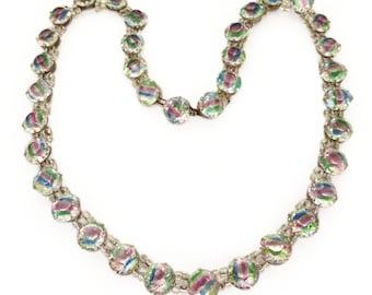 Vintage Art Deco 1940s Czech Iris Glass Collar Necklace