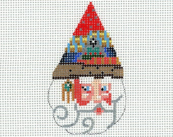 Hand Painted Needlepoint Santa Ornament - Wizard Santa