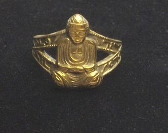 1960's Vintage Brass Buddha Mid Century Costume Jewelry Pinky Ring Yoga Meditation Gift For Her or Gift For Him on Etsy
