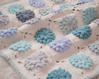 Newborn Baby Blankets, Cotton Blankets, Photo Prop, Mint, Blue, Light Blue, Grey, Ivory, Blanket