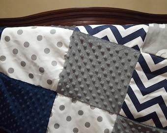 Elephant Patchwork Blanket- Navy Chevron, Gray Ele, White Gray Dot, Gray Minky, and Navy Minky Patchwork Baby Blanket