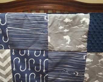 Fishing Patchwork Blanket- Fish, Navy Fish Hooks, Navy Wood Grain, Gray Minky, Navy Minky Baby Blanket