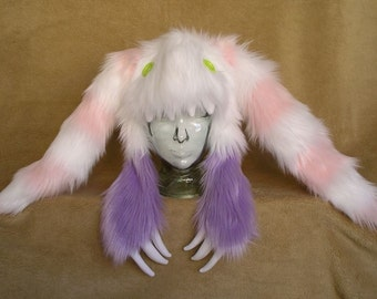 Big furry monster hat - White and lilac bunny with white and Pink ears