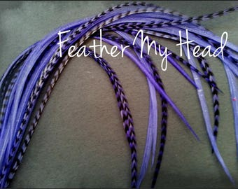 Feather Hair Extension - 5 Piece 7 - 9 inches Long (18-23 cm) Grizzly Stripe / Solid Mix - Lilac - Brights