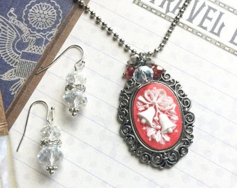ON SALE Christmas Bells Necklace, Cameo Pendant, Pendant and Earring Set, Christmas Gift, Gifts for Her, Gifts Under 20