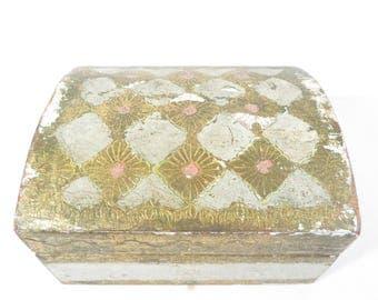 Pretty Florentia Pink White Gold Wood Box - Florentia Trinket Box