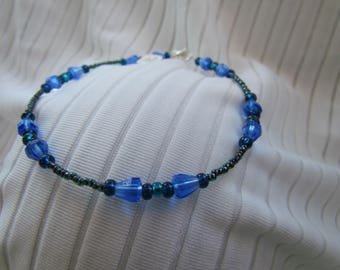 Sapphire Blue, Black Lined Emerald, Silver Lined Bermuda and Teal Glass Bead Anklet