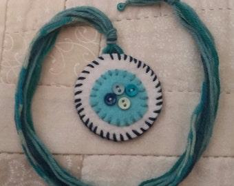 Wool felt heart bookmark, aqua bookmark, yarn bookmark, button bookmark, felted wool bookmark, aqua felt, penny rug bookmark