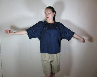 Vintage French Textile Artist's 1980's silk blouse oversize 8