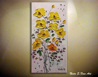 Original Abstract Contemporary Fine Art Modern Yellow Flowers Impasto Palette Knife Oil Painting Home Decor Bouquet Painting  by Nata S.