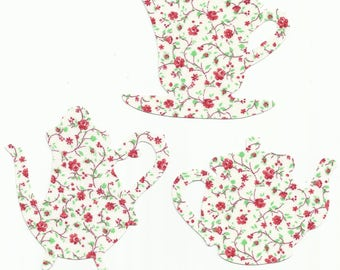 Rose/Floral Teacup and Teapots Set Fabric Iron On Appliques
