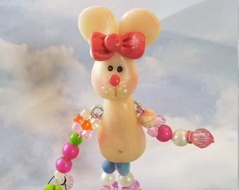 polymer clay bunny holding a carrot, spring bunny , standing bunny, hand sculpted, Easter bunny