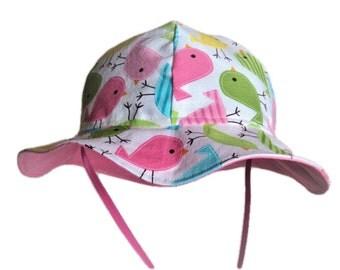 Baby Sun Hat, Spring Birds Baby Hat, Girl Sun Hat, Toddler Sun Hat, Newborn Hat, Cotton Hat, Summer Clothes, Floppy Beach Hat, Baby Gift