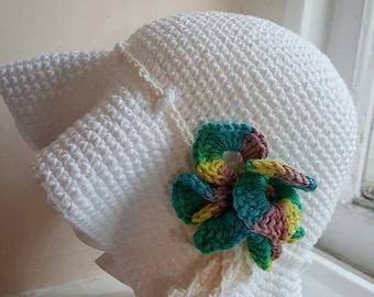 Handmade Crochet Cotton Sun Summer hat made in wales