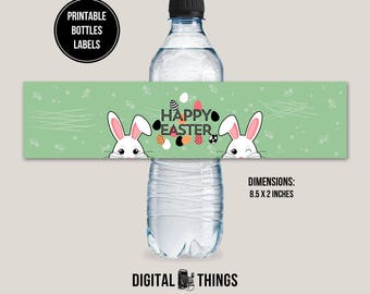 Printable Happy Easter Water Bottle Label Wrap. Bottle Wrapper. Drink Label. Printable Party Favor Printable Party Decor Decorations DT1984