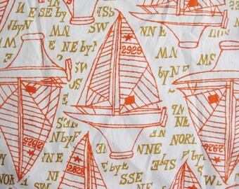 Vintage 50s Orange Nautical Sail Boat Novelty Print Fabric Remnants 4+ Yards