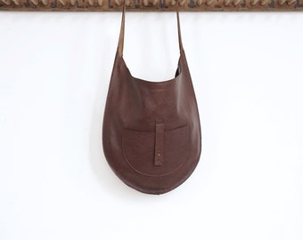 The Versailles- Leather Hobo Shoulder Bag- Chocolate