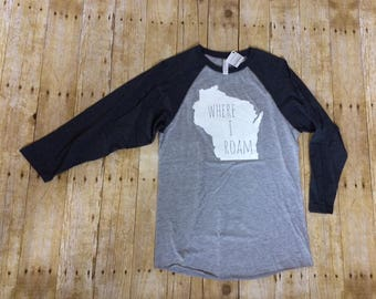 SALE Screenprinted ADULT unisex Baseball Sleeve Shirt, screen printed tee, Wisconsin Shirt, Wisconsin Pride