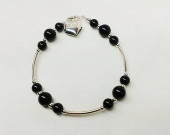 Black Onyx Bracelet Heart Bracelet Sterling Silver Bracelet Black Bracelet Summer Jewelry Timeless Bracelet BuyAny3+Get1 Free