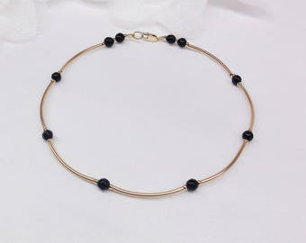 14k Gold Onyx Anklet Girlfriend Gift For Christmas Black Onyx Ankle Bracelet Black Onyx Anklet Gold Anklet Ankle Jewelry Buyany3+Get1 Free
