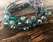 Dewey Leaves: Versatile crocheted necklace / bracelet / belt / headband