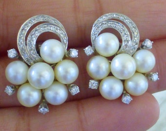Large Fine 1940s 14k Diamond Akoya pearl Cocktail earrings. Old Hollywood.